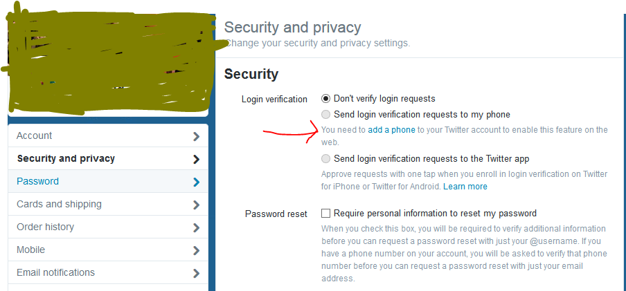 Twitter double authentication and security via SMS – Nasri Messarra